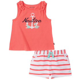 Toddler Girl Nautica Anchor Tank Top with Flowers