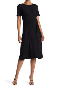 T Tahari Side Tie Fit and Flare Dress
