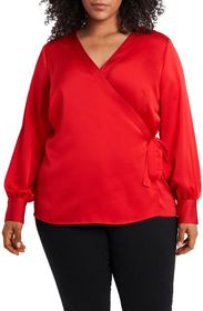 Vince Camuto Wrap Front Long Sleeve Blouse