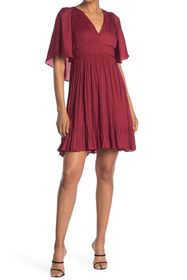 HALSTON Flowy Cape Sleeve Dress