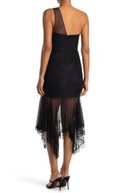 HALSTON One Shoulder Lace Dress