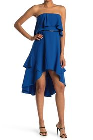 HALSTON Strapless Flounce Dress