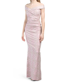 Off The Shoulder Metallic Stretch Jacquard Gown