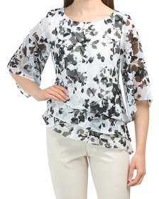 Printed Triple Tier Blouse With Asymmetrical Hem