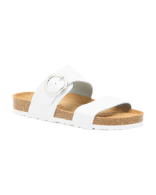 Made In Spain 2 Bands Leather Sandals With Buckle