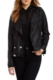 Vertigo Faux Leather Ruffled Jacket