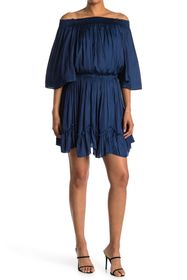 HALSTON Smocked Off-the-Shoulder Dress