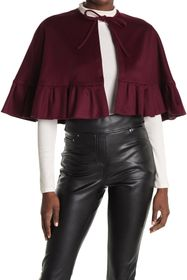 Burberry Ruffle Cropped Tie Neck Poncho