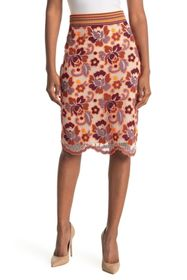 Burberry Embroidered Floral Skirt