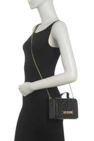 LOVE Moschino Borsa Quilted Nero Top Handle Crossb