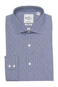 Ben Sherman Navy Clip-Spot Glen Dress Shirt