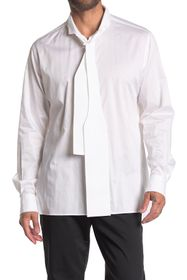 Burberry Neck Tie Long Sleeve Button Front Shirt