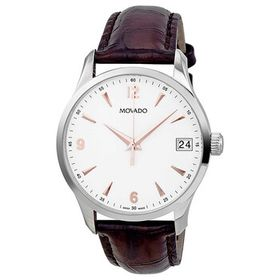 Movado Movado Circa White Dial Brown Leather Men's