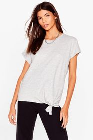 Nasty Gal Grey Tie Hem Crew Neck T-Shirt