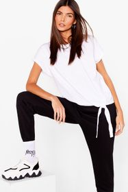 Nasty Gal White Tie Hem Crew Neck T-Shirt
