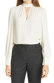 Theory Neck Band Stretch Silk Blouse