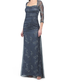 Metallic Lace Tulle Applique Overlay Gown