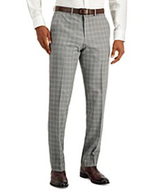 Men's Modern-Fit Subtle Check Performance Dress Pa