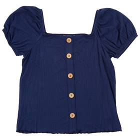 Girls (7-16) Speechless Rib Button Front Top