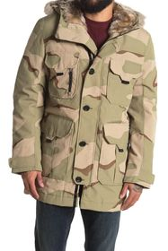 Lacoste Faux Fur Lined Hooded Camo Print Jacket