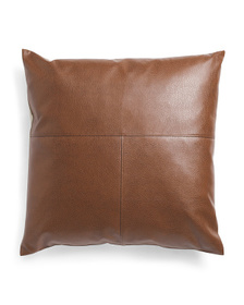 Made In Usa 22x22 Faux Leather Front Pillow