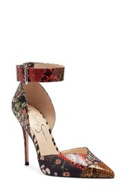 Jessica Simpson Snake Embossed Ankle Strap Pump