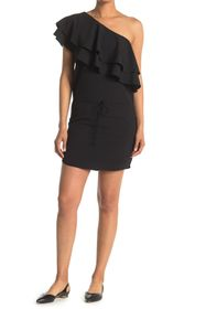 HALSTON Layered Ruffle One Shoulder Mini Dress