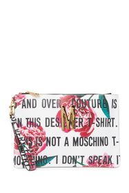 MOSCHINO Floral Text Leather Wristlet Clutch