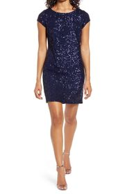 Vince Camuto Sequin Cap Sleeve Cocktail Dress