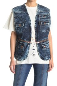 See By Chloe Zip Denim Utility Vest