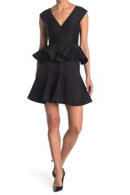 HALSTON Peplum V-Neck Dress