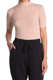 BCBGMAXAZRIA Mock Neck Rib Knit Top