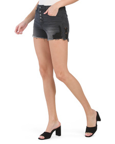 Juniors Exposed Button Destructed Shorts