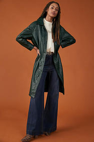 Anthropologie Deirdre Faux Leather Trench Coat