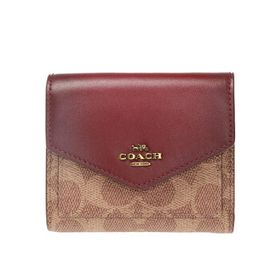 Coach Coach Deep Red Signature Canvas Small Wallet