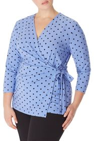 Anne Klein Beekman Dot Wrap Top