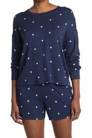 Splendid Embroidered Star Print Hooded Pullover