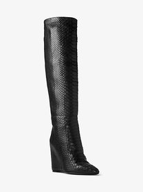 Michael Kors Steff Python and Leather Wedge Boot