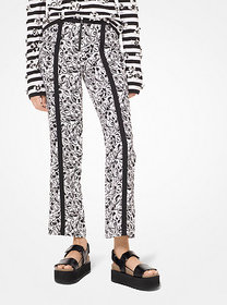 Michael Kors Painterly Floral Crepe Cady Cropped P