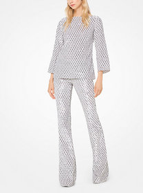 Michael Kors Geometric Sequined Stretch-Tulle Flar