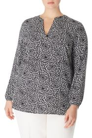 Anne Klein Pom Pom Printed Split Neck Blouse