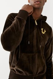True Religion Velour Zip Front Drawstring Hoodie