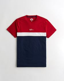 Hollister Must-Have Crewneck T-Shirt, RED AND NAVY