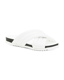 Made In Italy Leather Cross Band Slide Sandals