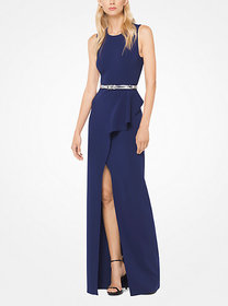 Michael Kors Ruffled Stretch Wool-Crepe Belted Gow