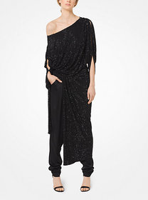 Michael Kors Crystal-Embroidered Crepe-Jersey Drap