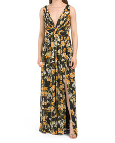Long Floral Dress With Front Slit