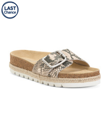 Embossed Leather Flat Sandals