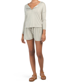 Juniors 2pc Ribbed Long Sleeve Top And Short Set