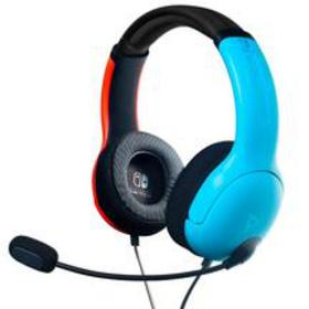 LVL40 Neon Blue and Neon Red Wired Stereo Gaming H
